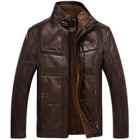 Men's PU Leather Velvet Warm Winter Motorcycle Business Casual Jacket