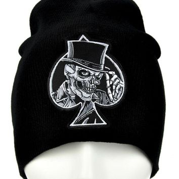 ac spbest Black Spade Skull Top Hat Beanie Alternative Clothing Knit Cap Biker Death
