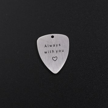 BeUrSelf Guitar Pick Pendant Stainless Steel Necklace Jewelry Initial Custom Findings Musical Instruments Jewelry Accessories