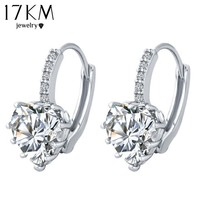 17KM Brand Charm Simple Heart Crystal Stud Earrings Women Romantic Zircon Round Earrings Statement Accessories Pendientes