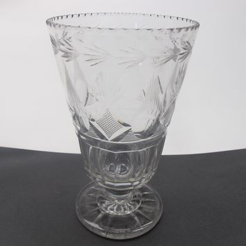 Early Pittsburgh Old Cut Glass footed celery vase Crystal