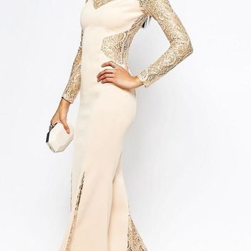 New Apricot Patchwork Zipper Lace Long Sleeve Prom Evening Party Mermaid Maxi Dress