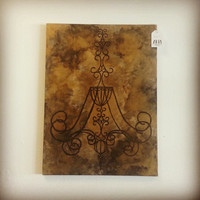 Chandelier Silhouette Painting, Black and Gold Chandelier, Black and Gold Art, Chandelier Art, Chandelier Painting