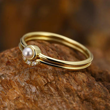 Pearl Engagement Ring women Curved Wedding Band diamond 14k gold Minimalist Simple Dainty Stacking Delicate  Gift for Her Anniversary