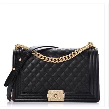 """Chanel Boy Bag """"New"""" Medium Quilted Black Caviar Brushed GHW - NEW+FULL SET"""