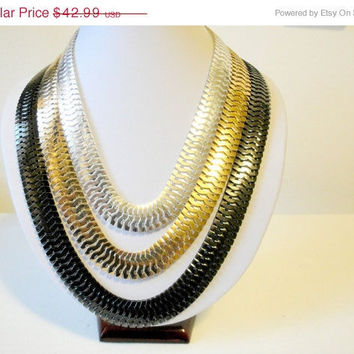 Free Shipping: Multi Strand Necklaces, Chain Link Necklace, Layered Chain Necklace, Silver, Gold, Black