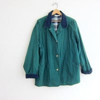 Vintage green Barn Coat. cotton Chore Jacket. Ranch Coat. Corduroy collar and cuffs. Lined in plaid flannel. size large
