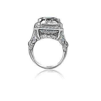 12 CT. Emerald Cut important vintage micro pave halo Vintage Sterling Silver Cocktail/engagement/wedding ring, simulated diamond - Diamond Veneer 635R75006