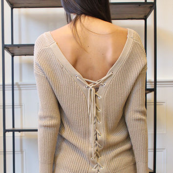 Loose Knit Lace Up Back Long Sleeve Sweater - Khaki
