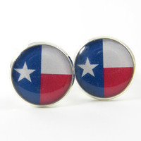 Mens Cufflinks -  Patriotic Texas State Flag Red White Blue Lone Star Cuff Links Jewelry for Him