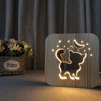 3D Cat Shadow Wooden Night Light Carved Wooden Bedside Lamp