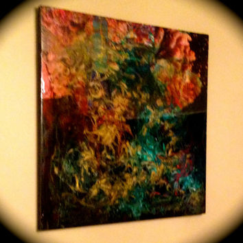 """ORIGINAL ABSTRACT COLLAGE Wall Art:  """"Galaxy In the Sea"""" (2 x 2' ft.) Wood, Collage, Epoxy Resin, Wall Accent!!"""