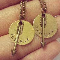 Forever and always matching necklaces with arrows(customizable)
