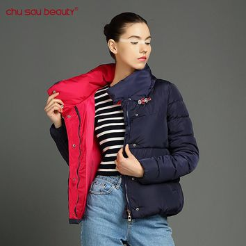 ChuSaubeauty women Fashion Clothing Women Cultivate Morality Warm Plus Size Winter Jacket And Coats Cotton Parkas Crystal buckle