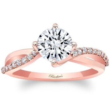 Barkev's Rose Gold Bypass Twist Prong Set Diamond Engagement Ring