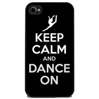 Keep Calm and Dance On - iPhone 4 or 4s Cover, Cell Phone Case - Black