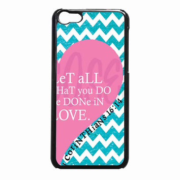 Pink Heart Chevron Bible 1 Corinthians 603d8cde-0556-434b-9757-53418eab10cf FOR iPhone 5C CASE *01*