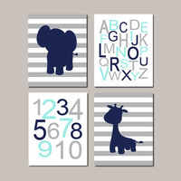 Jungle Nursery WALL ART Decor Baby Boy Nursery Decor Elephant Wall Art Giraffe Navy Gray Aqua Zoo Safari Animals Set of 4 Prints Or Canvas