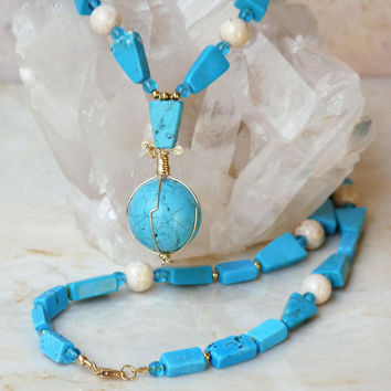 Turquoise and Gold Filled Globe Necklace