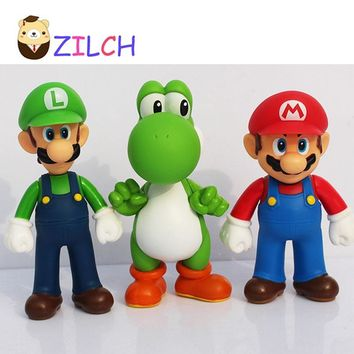 Super Mario party nes switch 3pcs/Lot Mini Figures PVC  Bros Figurine Action Toy Doll For Kids 12cm 4.5inch Best Gift For Boys Girls Children AT_80_8