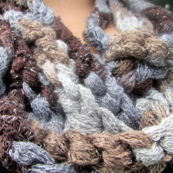 Summer Skinny Scarf Infinity Cowl Gray, Brown, and Cream Chain Crochet Necklace
