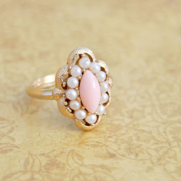 Vintage Pink and Faux Pearl, Avon Gold Tone Adjustable Ring, Womens Teen Estate Jewelry, Wife Girlfriend Mom Sister Daughter Friend Gift
