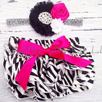 Zebra Baby Bloomer Outfit - Pick your Accessories: Satin Ruffle Bloomers, Headband, Barefoot Sandals and Chunky Necklace - Sized 0-24m