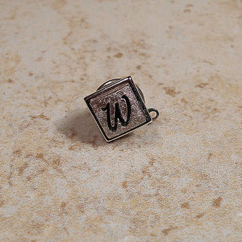 Swank Vintage Tie Tack Lapel Pin Letter Initial W Textured Silver Tone Mens Formal Jewelry Gift Fathers Day Mid Century Hipster Accessories