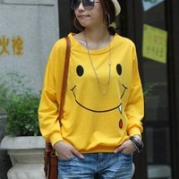 Laughing Face Casual Yellow Bat-wing T-shirts : Wholesaleclothing4u.com