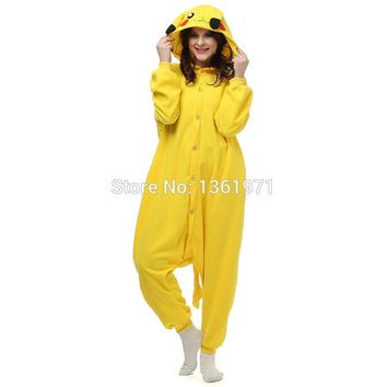HKSNG Hot Seller Pink Yellow Pikachu Pokemon Cheap Pyjamas Kigurumi Onesuits Adult Animal Pajamas Cosplay Pajamas Polar Fleece