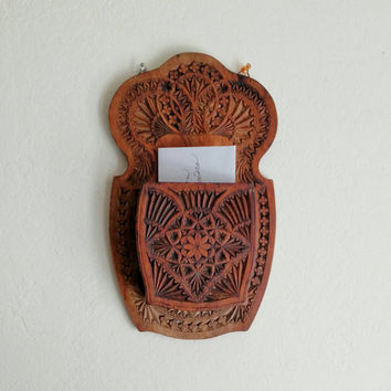 Carved Wooden Mail Catcher | Hand Carved | Wall Decoration | Boho home decoration |
