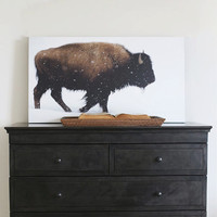 "50"" x 28"" - Vintage Photography, Large Print of Yellowstone Bison"