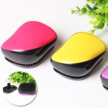 Fashion Compact Styler Magic Detangling Hairbrush Anti Static Tangle Comb Head  Comb Shower Colorful Massage Hair Styling Tool