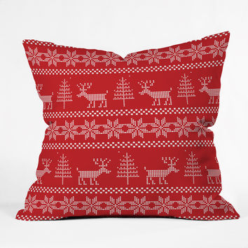 Natt Christmas Knitting Deer Outdoor Throw Pillow