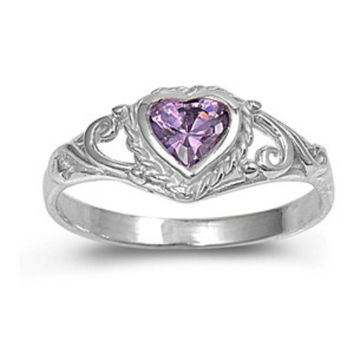 .925 Sterling Silver Purple Amethyst CZ Heart Ring Size 1-5