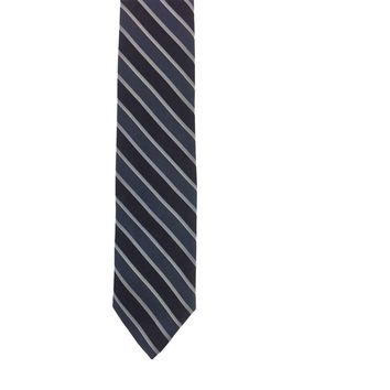 Envoy Striped Narrow Silk Tie - Blue