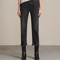 ALLSAINTS US: Womens Mazzy Straight Crop Jeans (Washed Black)