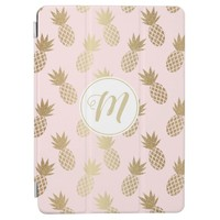 Gold Pineapple Pattern & Monogram iPad Pro Cover