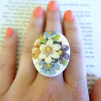 Vintage Floral Oval Cabochon Ring on Brass Adjustable Ring Base