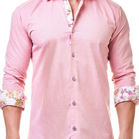 Luxor Flower Pink | Dress Shirt by MACEOO