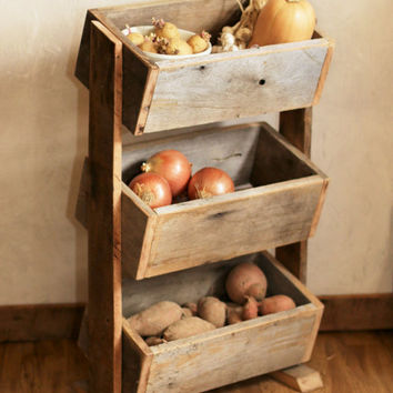 Organization/Storage Bin   Repurposed Wood   Rustic Kitchen Deco