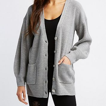 Lurex Button-Up Cardigan | Charlotte Russe