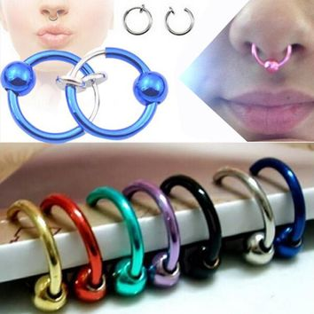 2Piece Free shipping Alloy Hoop Nose Rings Body Piercing Jewelry Fake Nose Ring Clip On Earrings with Ball Gold Tragus Helix