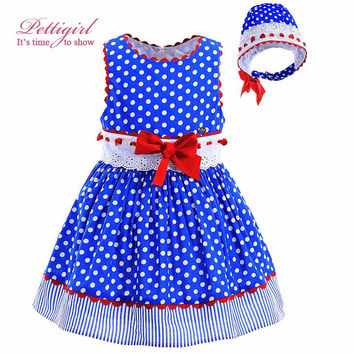 Pettigirl New Blue Polka Dot Baby Girl Dress Hand Made Lace With Red Bow Headband Toddler Boutique Kids Clothing G-DMGD905-772