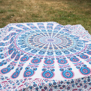 Mandala Tapestry, Buddhist Tapestry, Blue Tapestry, Bohemian Tapestry, Mandala Bedspread, Boho Tapestry, Floral Tapestry
