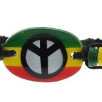 Peace Sign Adjustable Rasta Bracelet