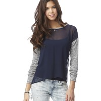 SHEER LONG SLEEVE KNIT ACCENT TOP