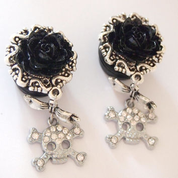 Black Glam Skull 5/8 inch 16mm Dangle Plugs For by Glamsquared