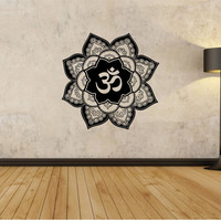 OM Mandala flower  Wall Decal Flower namaste Vinyl Sticker Art Decor Bedroom Design Mural flower Buddha namaste yoga living room
