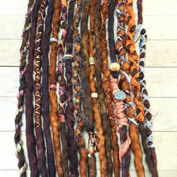 Dreadlock set of 16 Wool Dreads Accent Dreads Ready to Ship